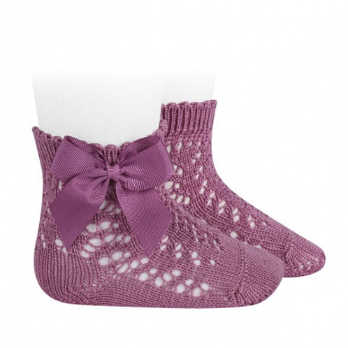 Crochet Socks with Bow Berry Pink Condor