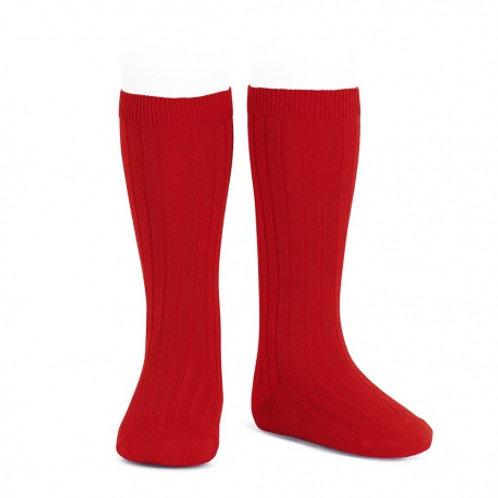 Red Ribbed High Socks Condor.