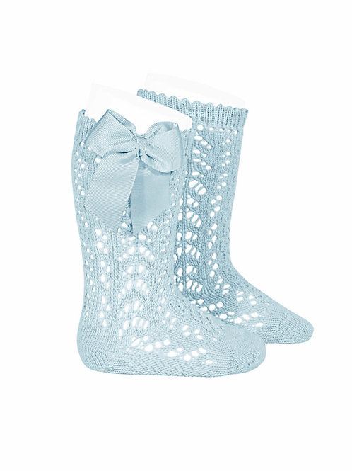 Girls Crochet High Socks w/bow AQUAMARINE