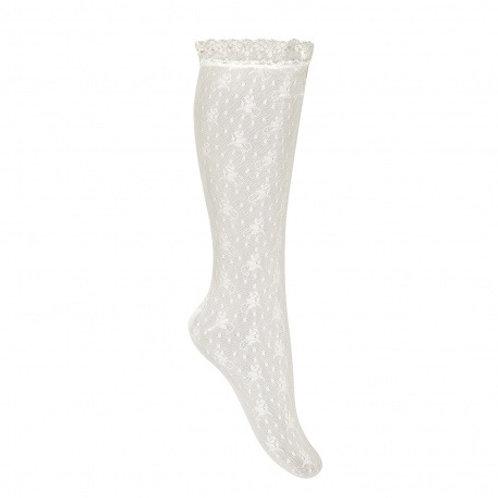 Ceremony Silk Lace High Socks Condor