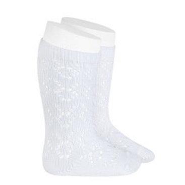 Crochet Patterned White High Socks Condor