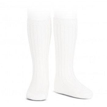 White Ribbed High Socks Condor.