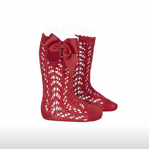 Girls Crochet High Socks w/Bow Condor RED