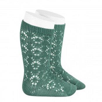 Crochet Patterned High Green Socks Condor