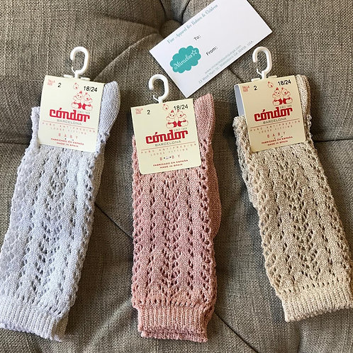 Shimmer Crochet Knee Socks. Made in spain.