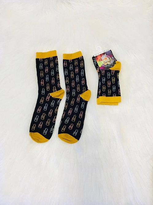 Boys Paper clip embroidery short socks black Condor