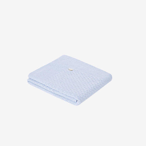Paz Rodriguez Blue Cloud Knitted Blanket