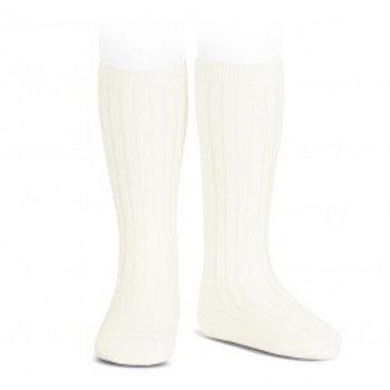 Ivory Ribbed High Socks Condor.