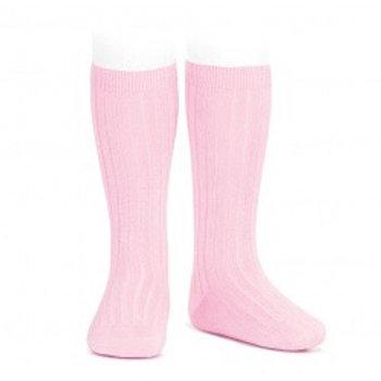 Pink Ribbed High Socks Condor.