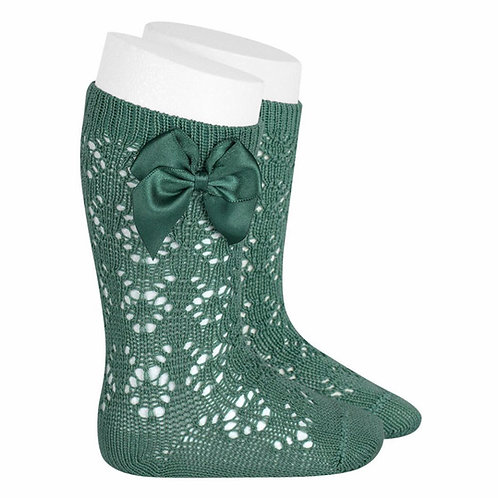 Crochet Patterned High Socks w/ Bow Condor