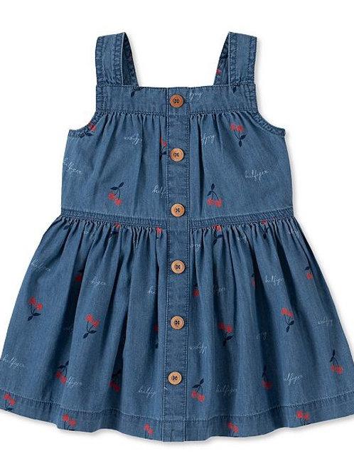 Girls Denim Cherry print Dress Tommy Hilfiger.