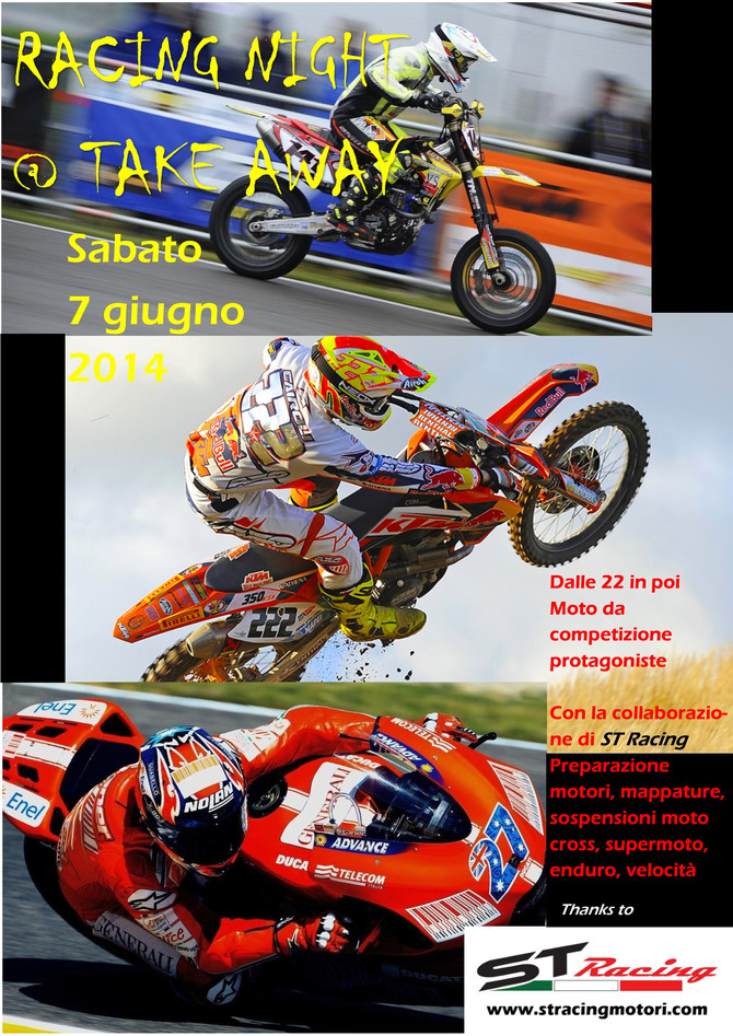Racing Night @ Take Away, vi aspettiamo sabato 7 giugno!
