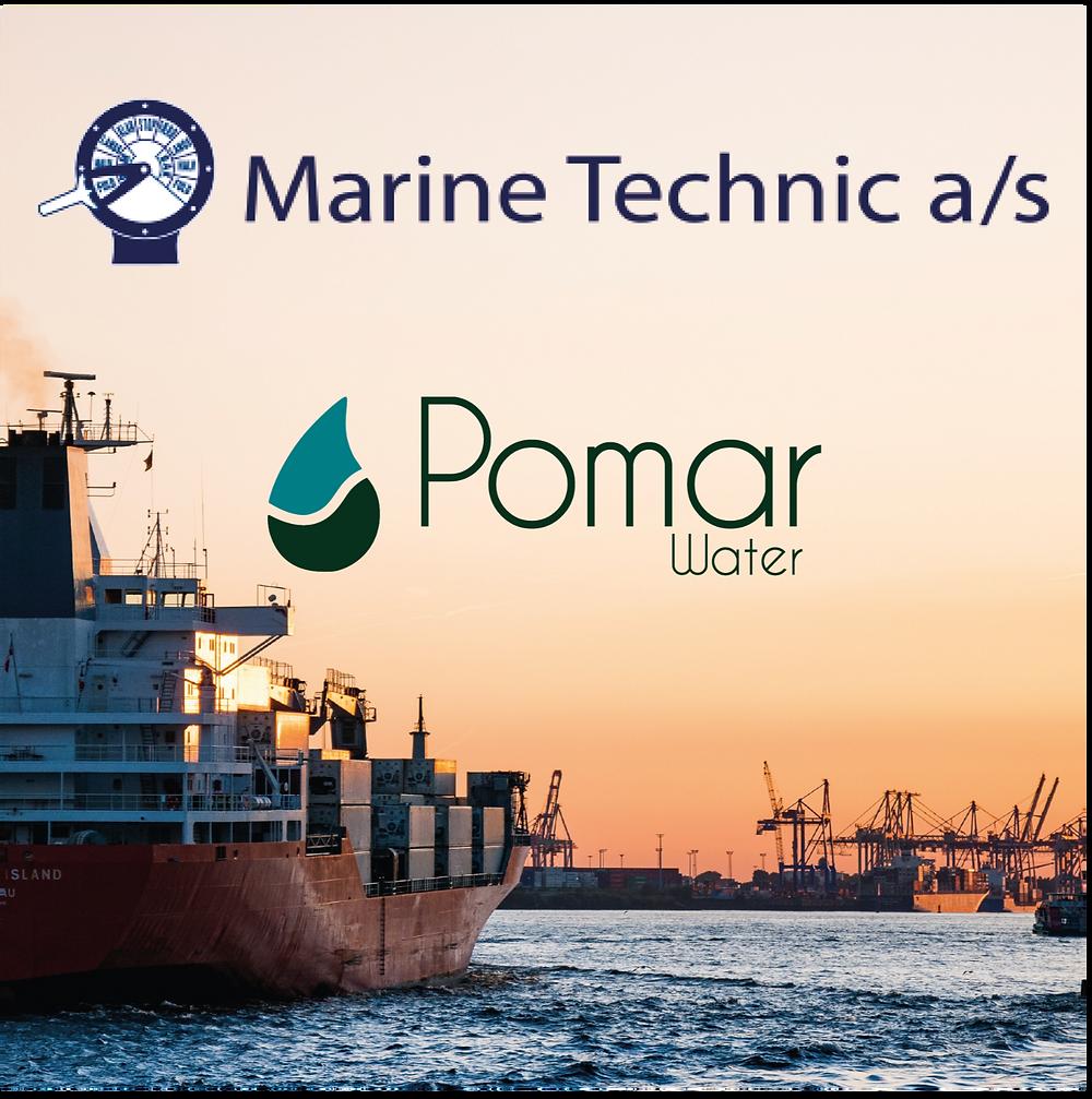 Imagen de un atardecer en el mar con barcos industriales y, los logos de Pomar Water y Marine Technic