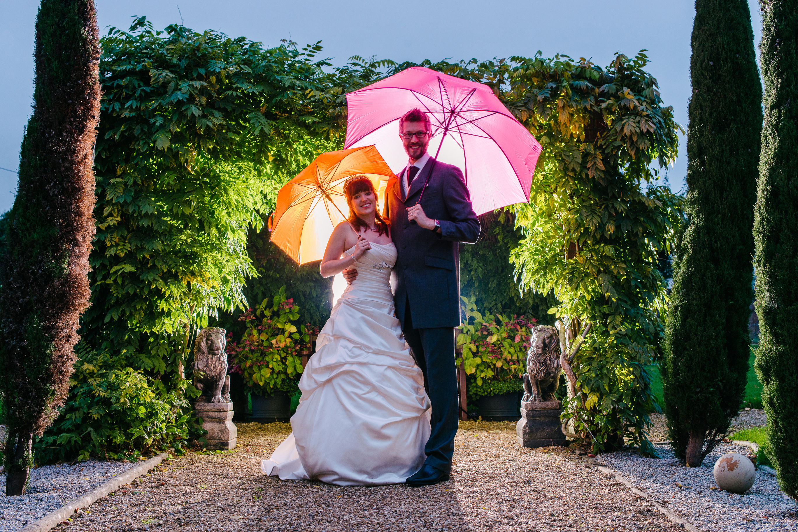 Pergola wedding umbrellas