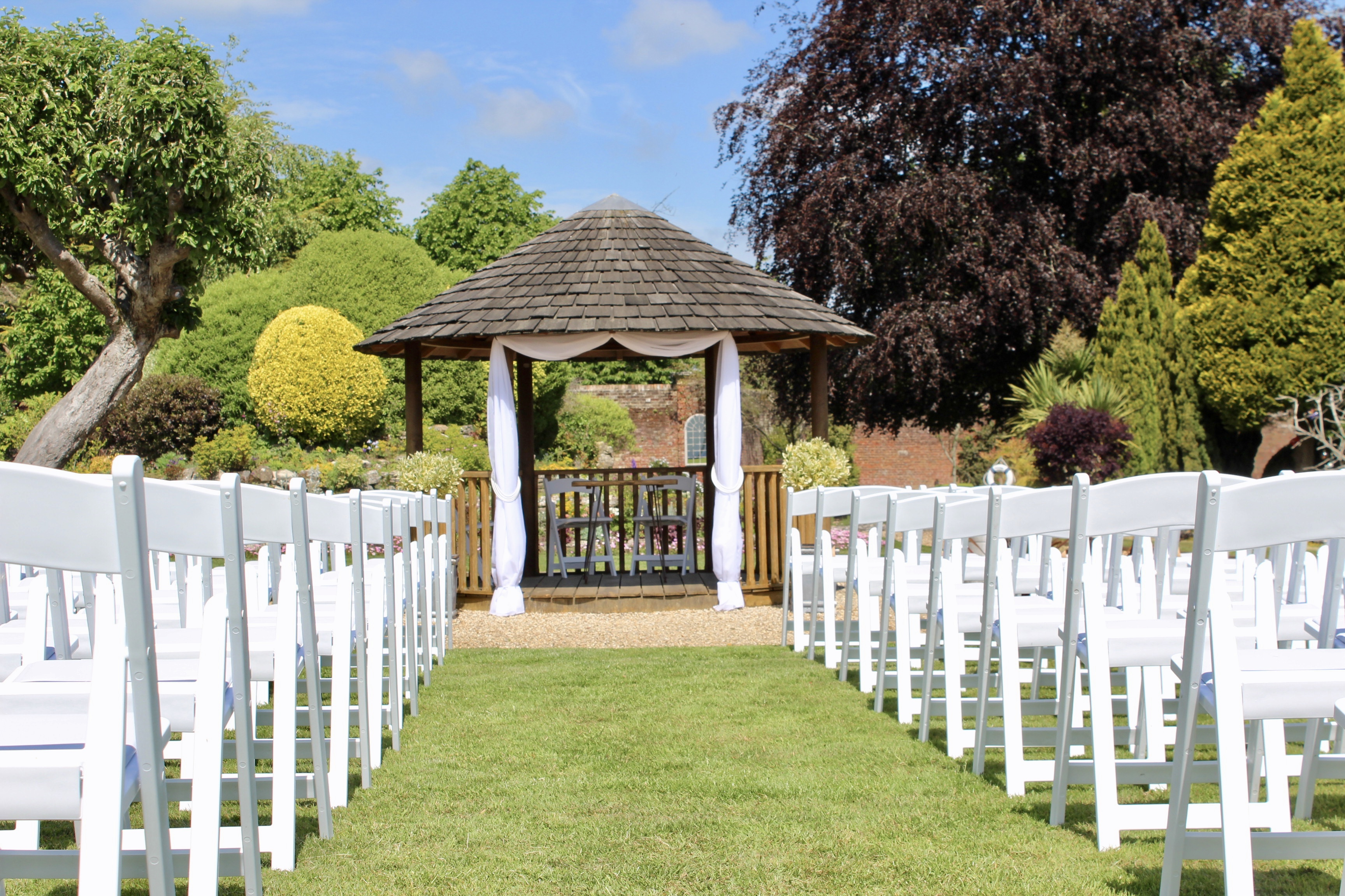 Outdoor wedding ceremony gazebo