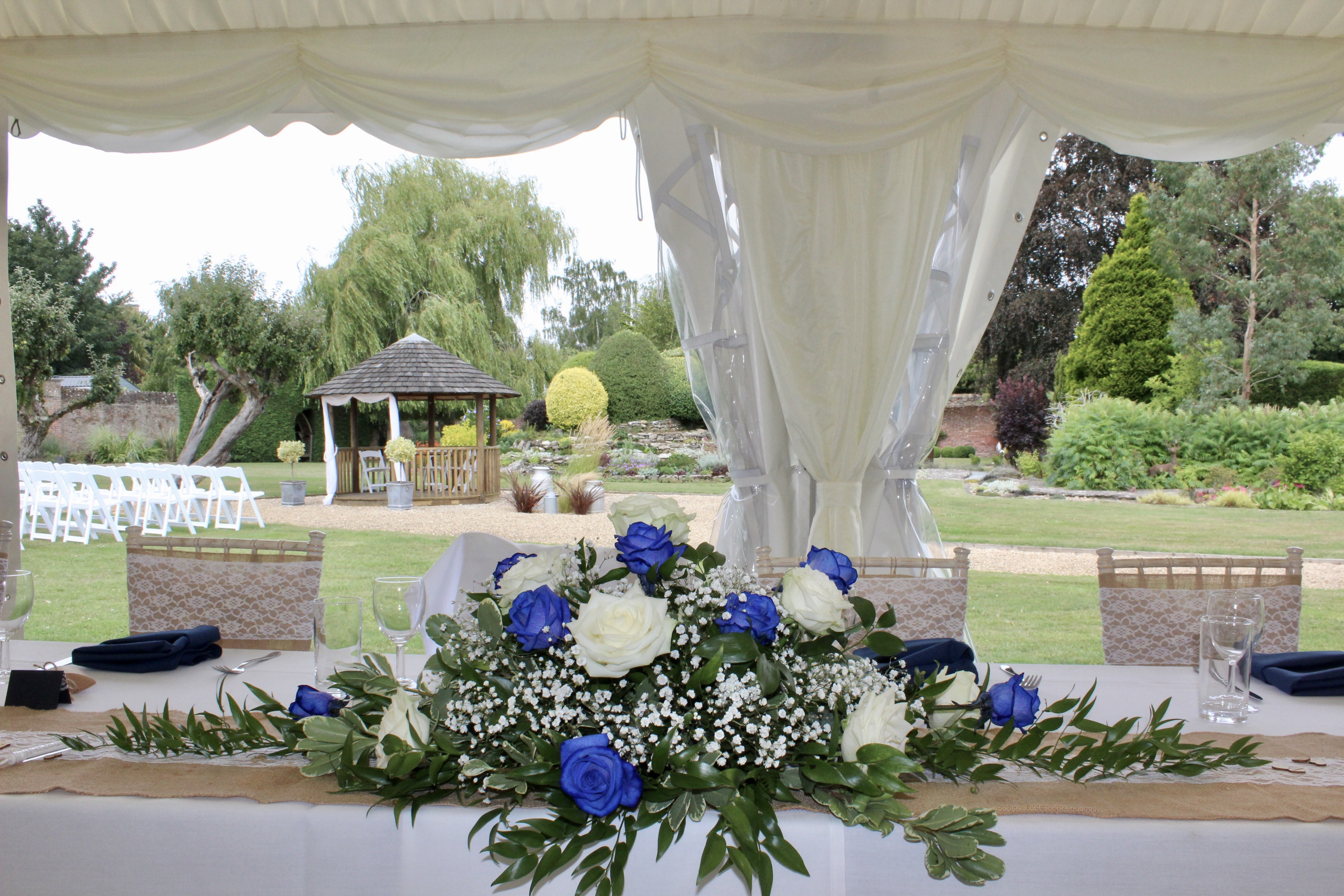 Marquee top table flowers