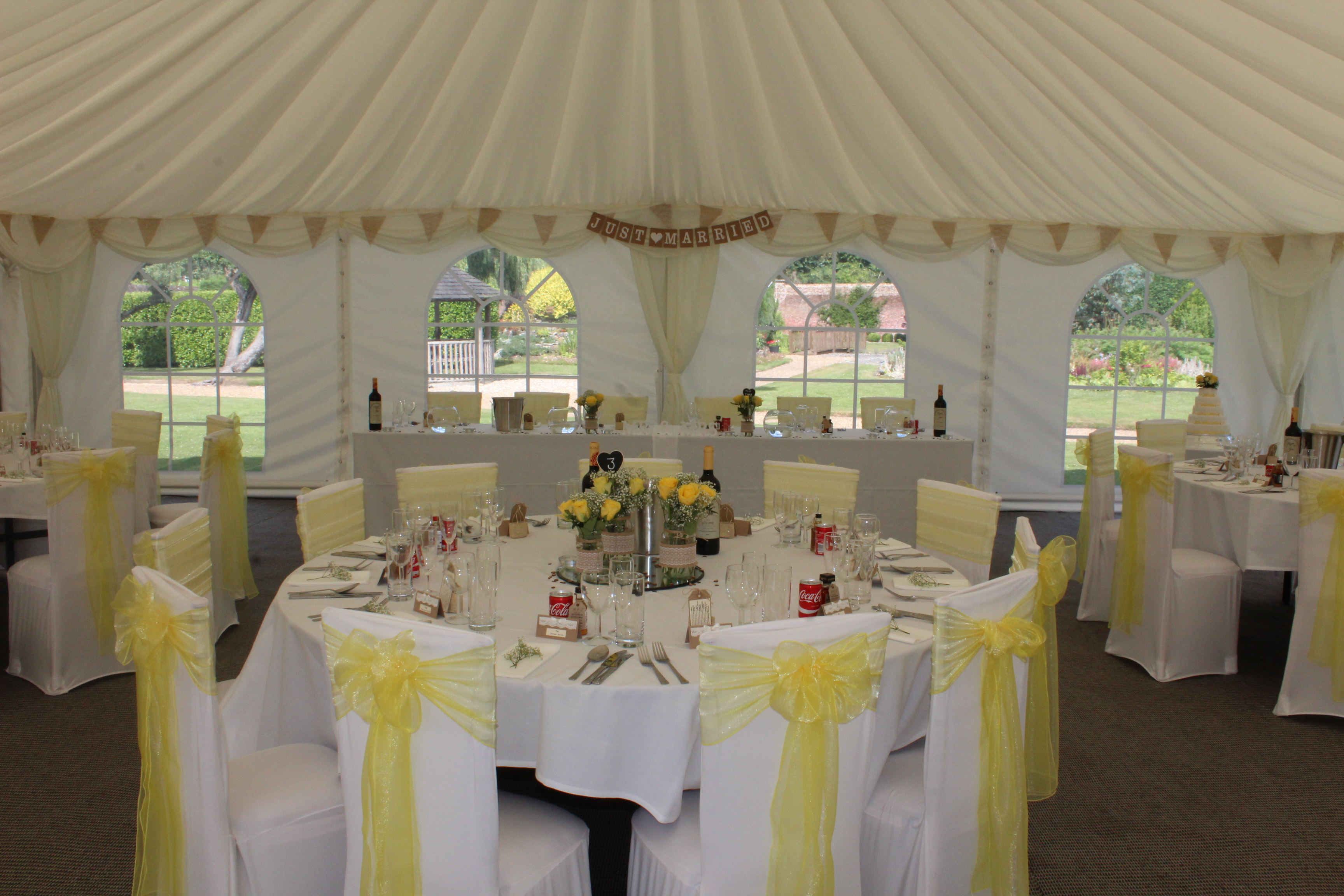 Orangery reception chair covers