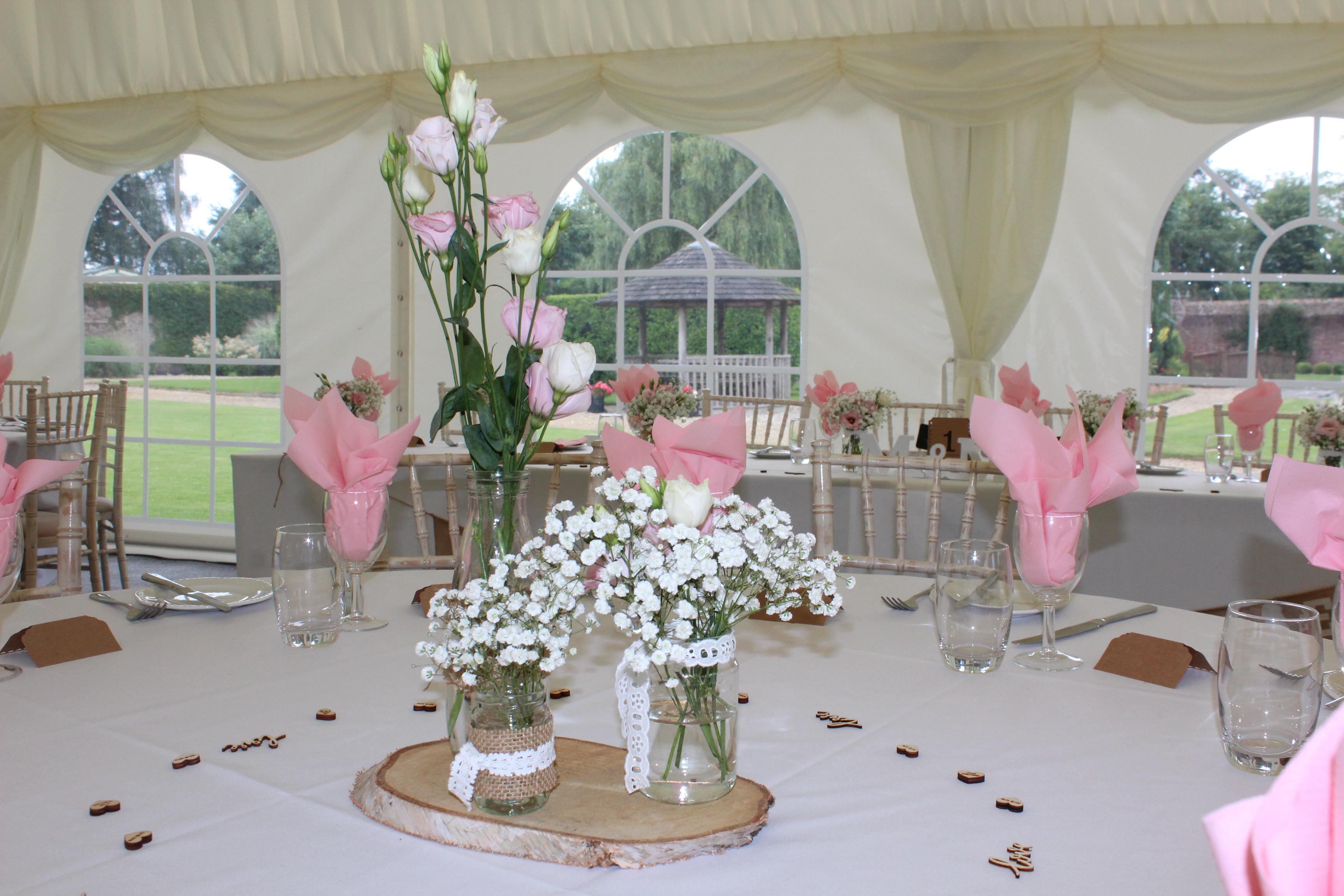 Wedding reception rustic flowers