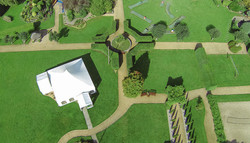 Orangery Suite aerial view marquee and gardens