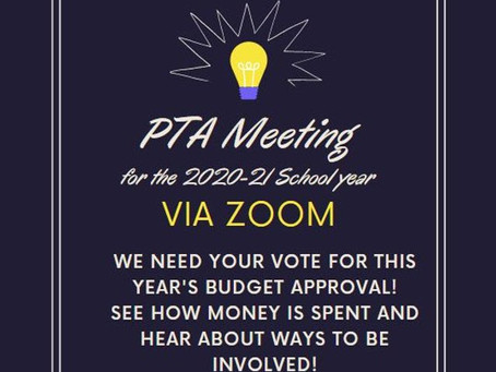 PTA Meeting - Sept 16 at 7p