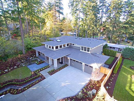 Aerial view of new construction home in