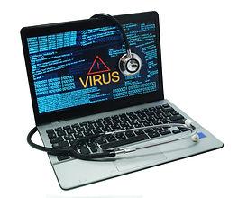 Stethoscope lying on laptop. Laptop inf