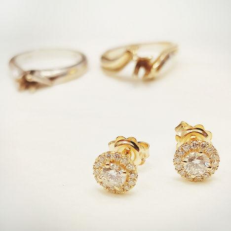 עגילי יהלומים + HALO
