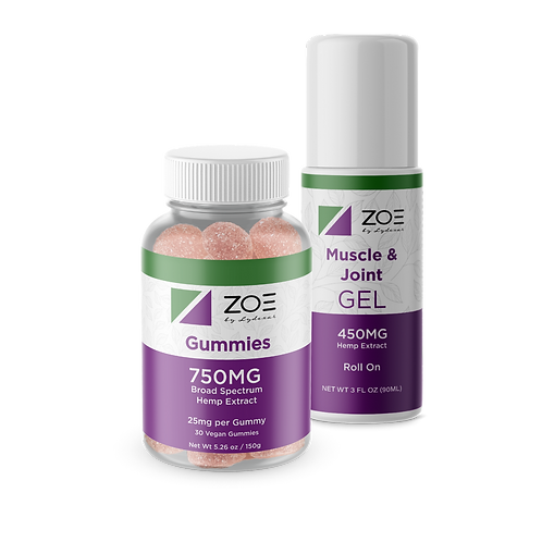 ZOE Muscle Gel and GummyJar 750mg Bundle