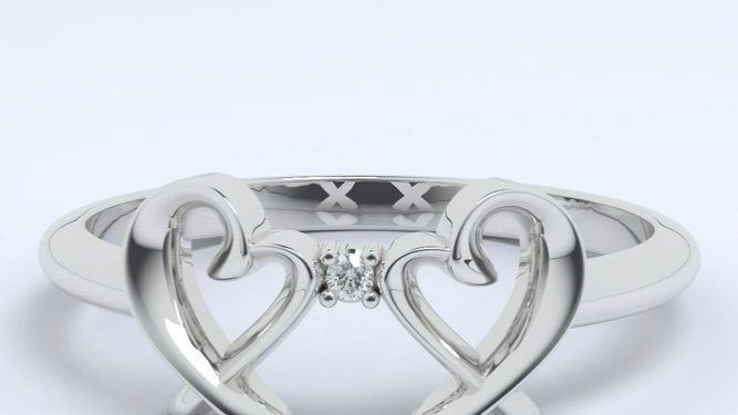 Dual silver heart ring