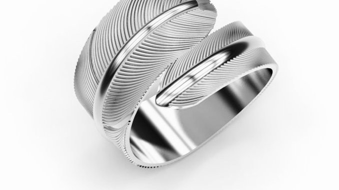Simple silver feather ring