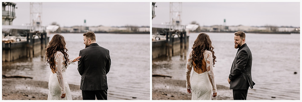 First look with wedding couple by rivers edge
