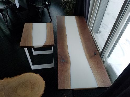 Walnut & White Living Room Set