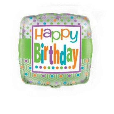 "Balloon Foil 18"" Happy Birthday Citrus Dot"