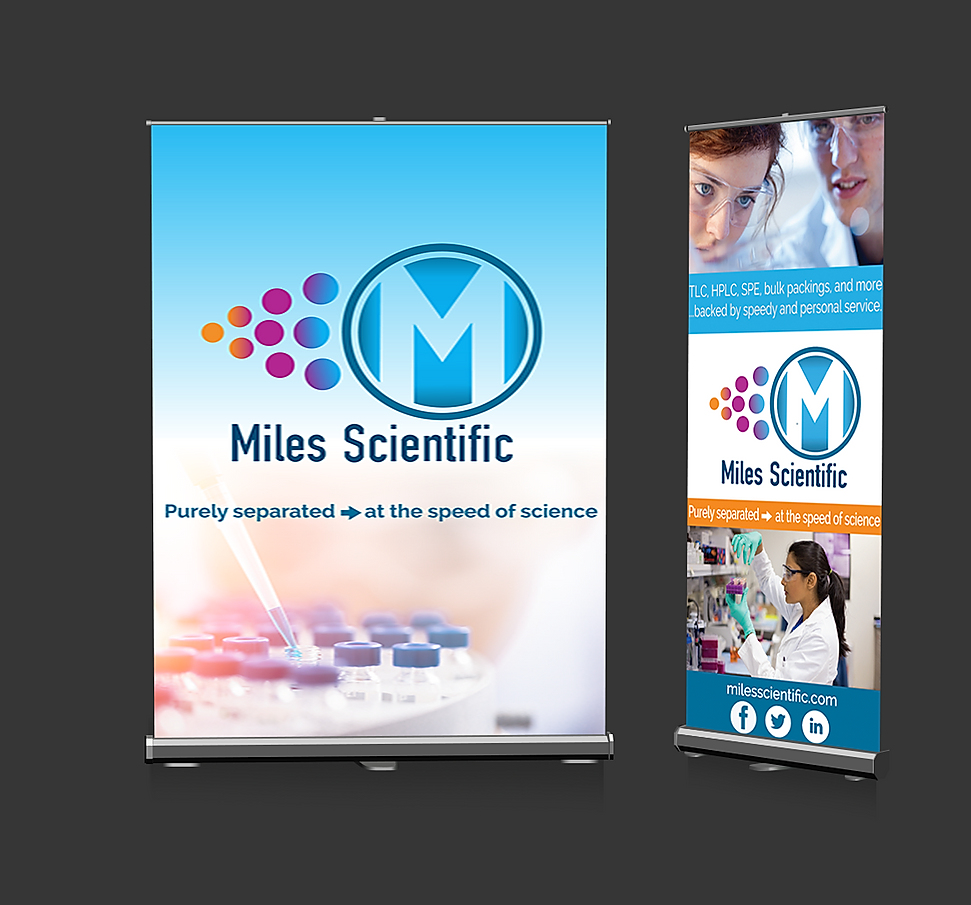 Miles Scientific trade show pull up banners and brand collateral - Branding Services and Trade Show Design Work by The Alias Group