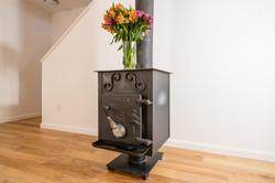 living area wood burning stove