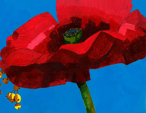 Gábor André: Composition with Red, Yellow, and Blue (Poppy and Berries)