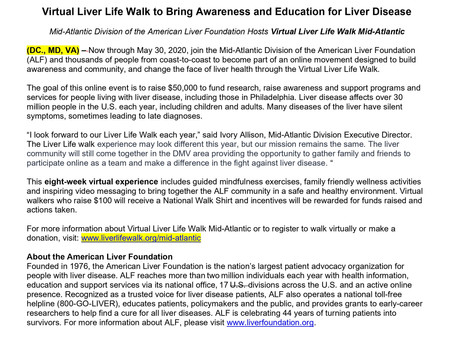 Virtual Liver Life Walk to Bring Awareness and Education for Liver Disease