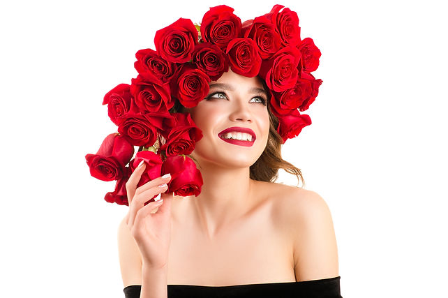 charming young girl with red roses on he