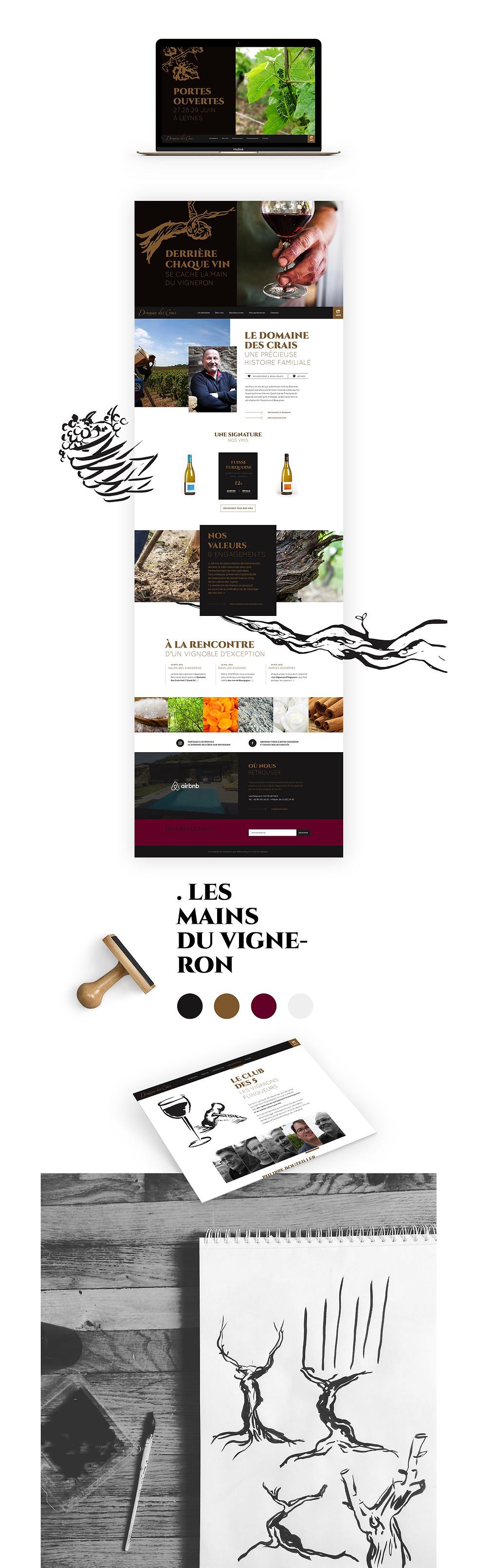 Création, réalisation du site web du Domaine des Crais vignerons Artisans Terroir, illustration direction artistique, création par Studio Makémaké