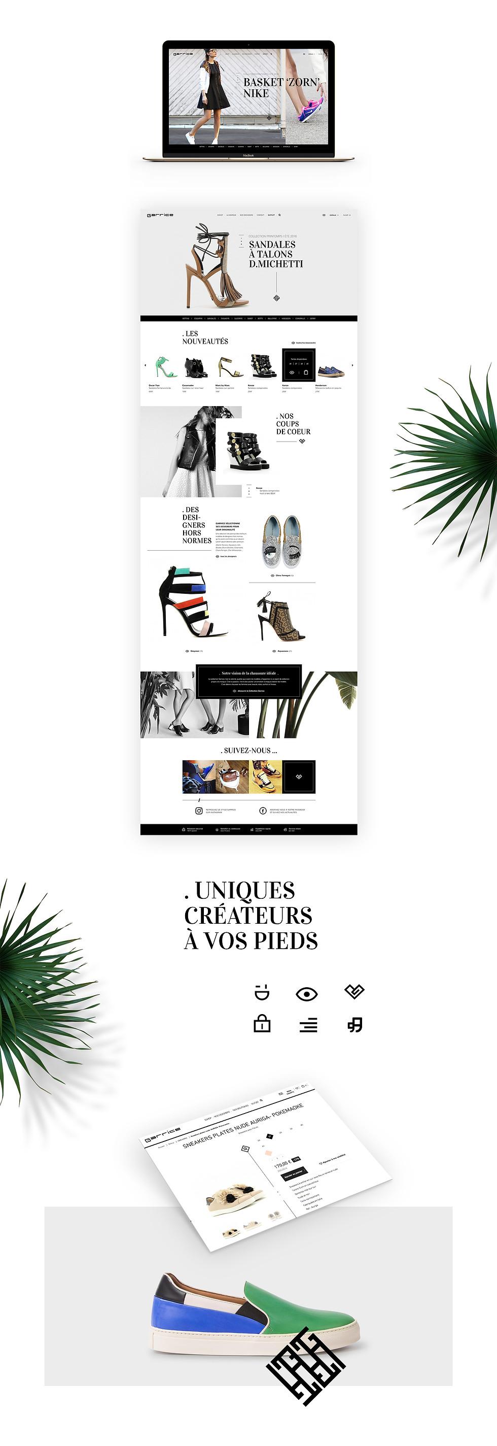 Création, réalisation communictaion visuelle site web charte graphique digitaleGarrice e-commerce mode lifestyle par Studio Makémaké
