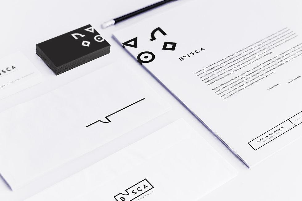 Création, réalisation logo identité visuelle papetrie communictaion visuelle carte de visite carte de voeux charte graphique Busca architecture, architecte, architecte intérieure par Studio Makémaké
