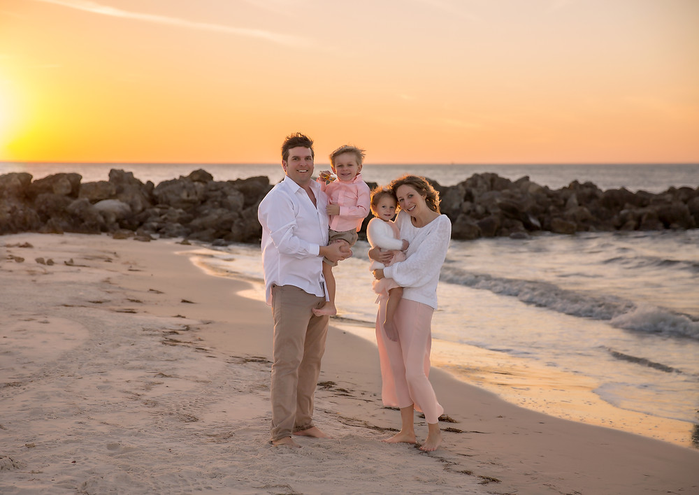 Family photos at sunset at Clearwater beach