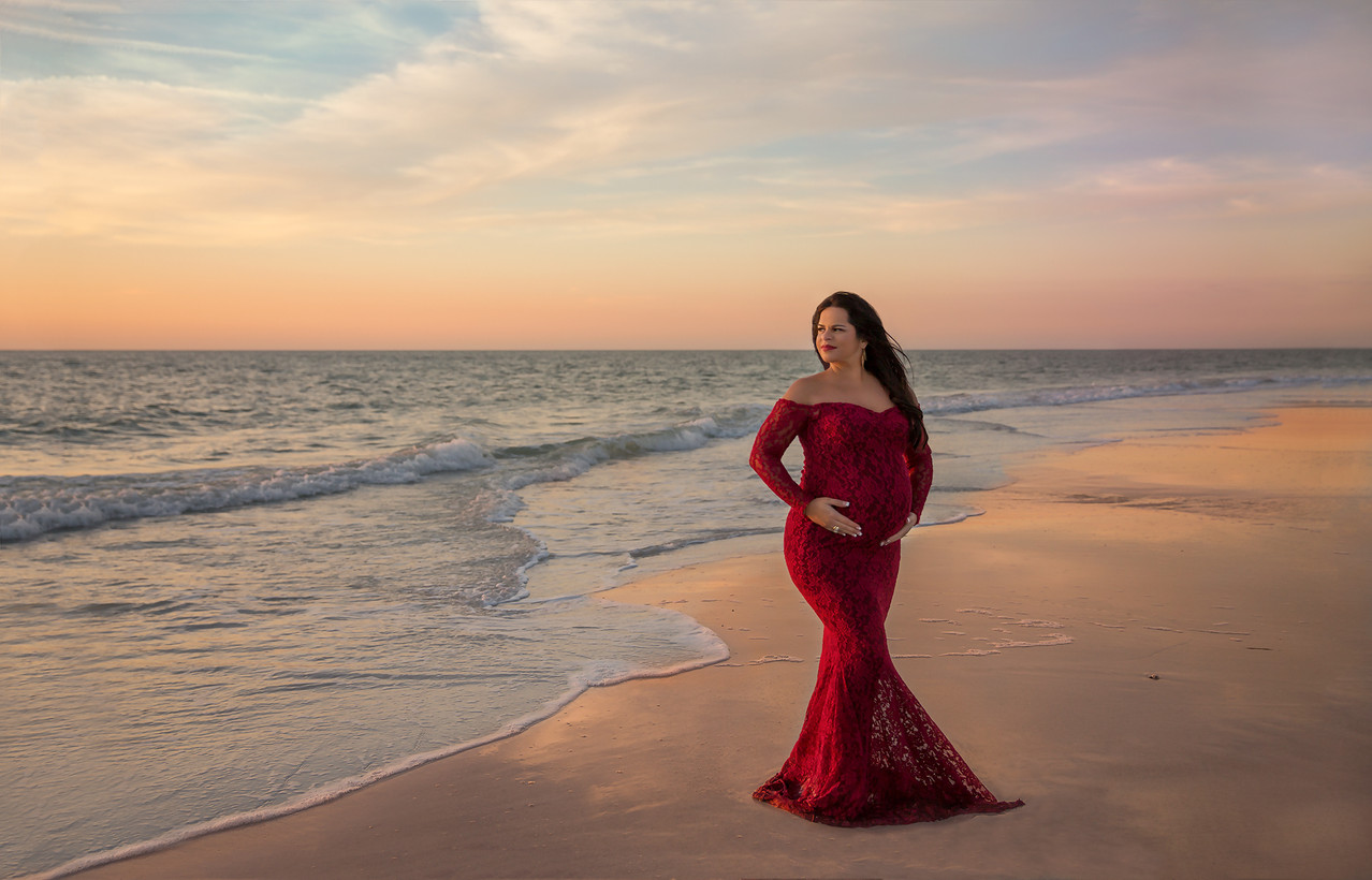 stunning red maternity gown