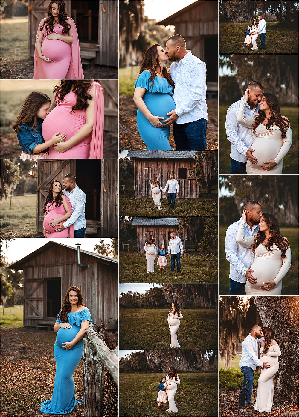 A rustic maternity photo session at Circle B Bar reserve in Lakeland Florida. Expecting Mother is swearing blue and pink maternity dress in front of a rustic barn.