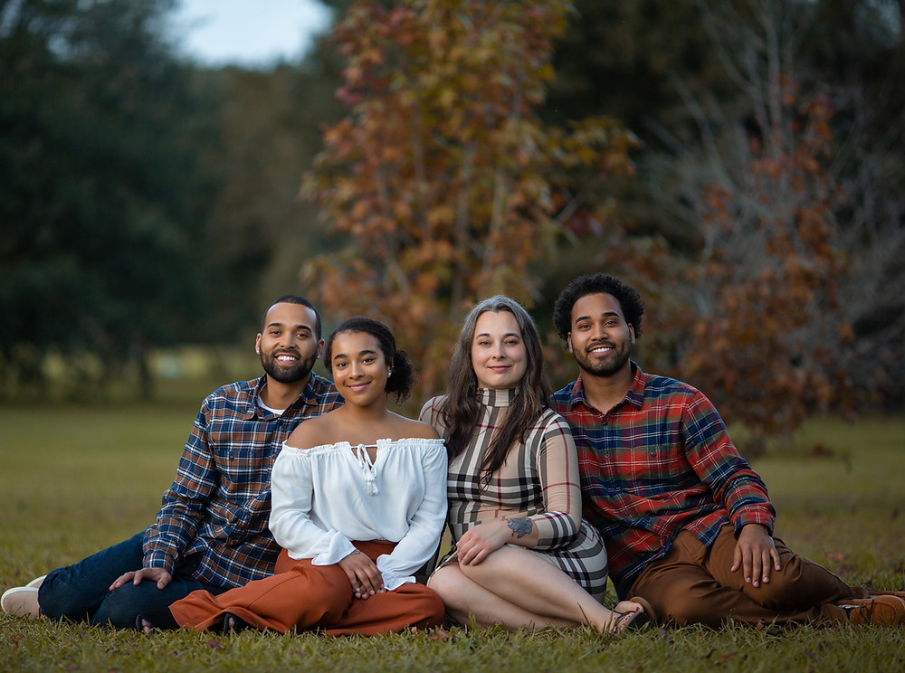 Fall family photos with bright orange and yellow