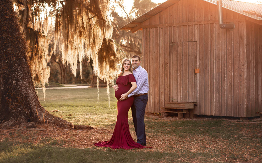Pregnant woman during boho maternity photo shoot in Tampa