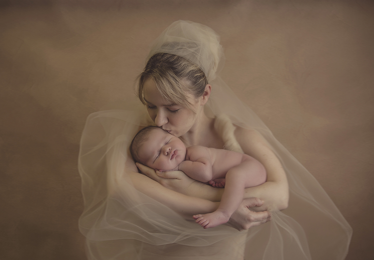 mother holding baby-artistic tulle