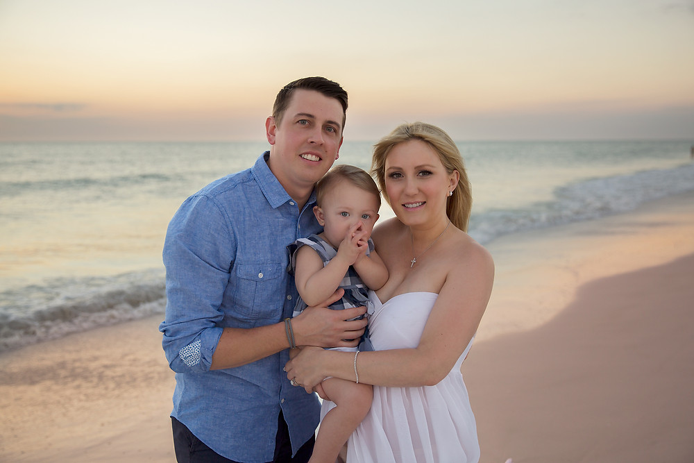 Family photo of maternity session in Tampa Florida during sunset