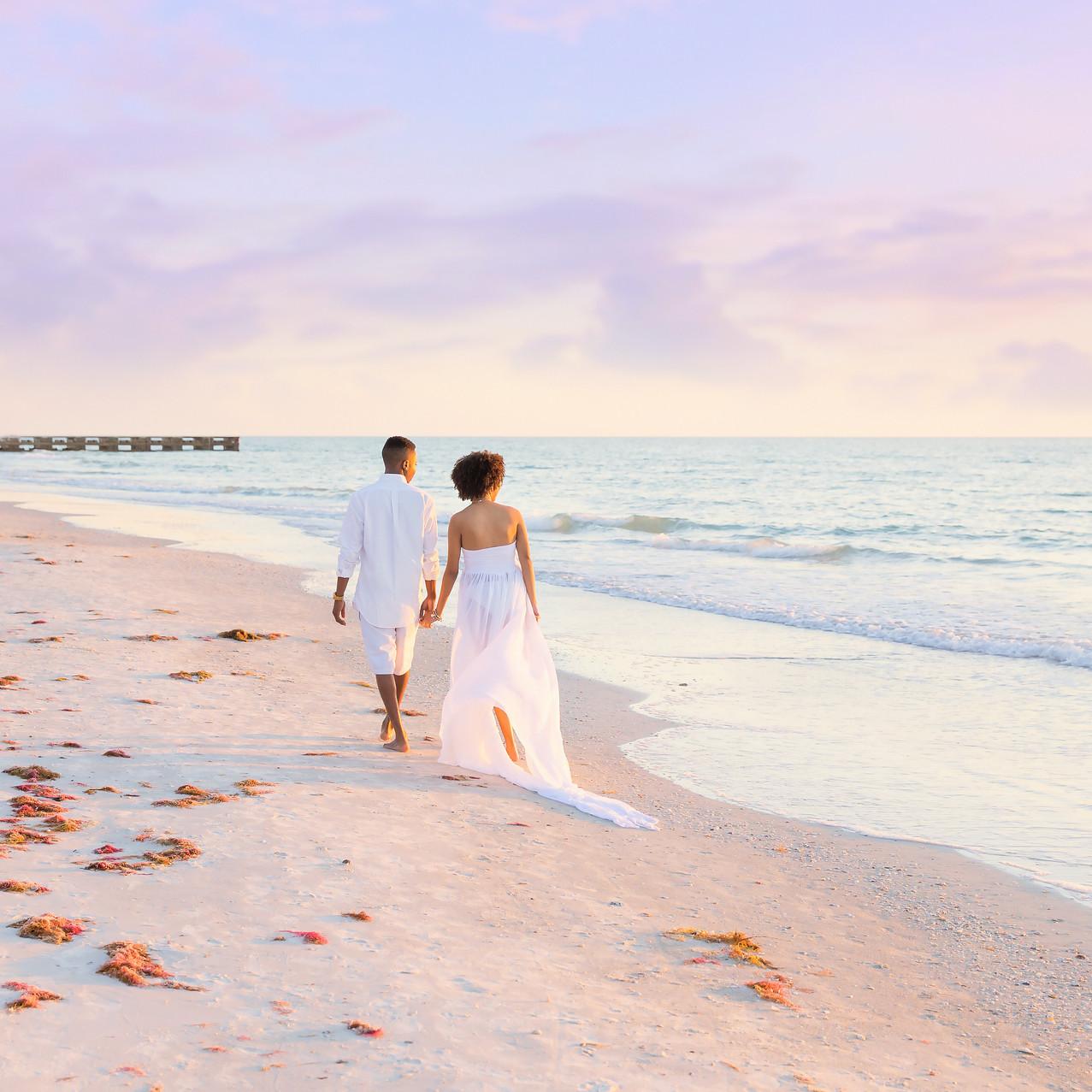 Walking on Tampa beach- Maternity