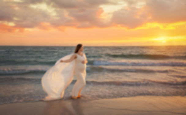 Maternity photo of mother with gown blowing in the wind. The sunset was orange and pink on this lovely florida evening